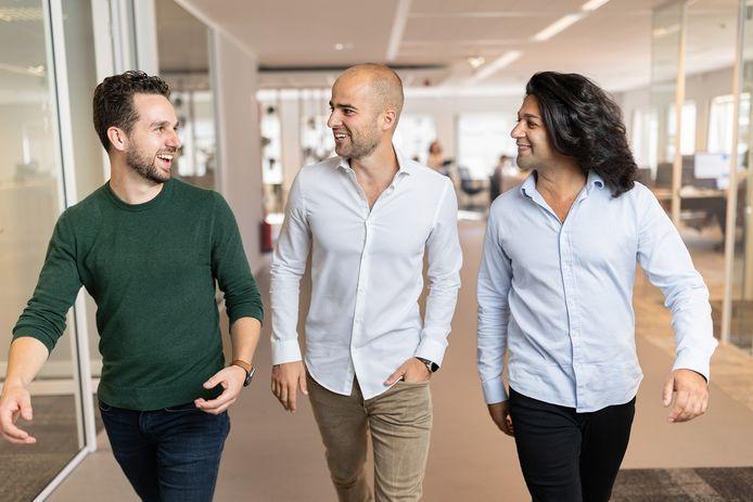 Bas Smeulders, Rob van den Heuvel en Sabi Tolou (van links naar rechts) zijn de oprichters van Sendcloud.