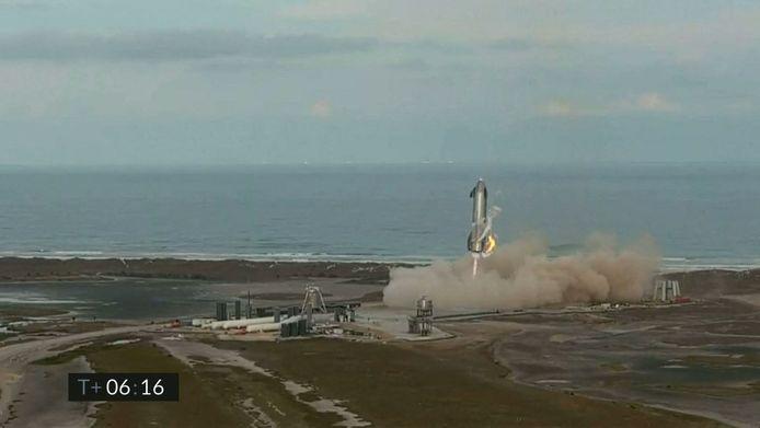 Het prototype tijdens de landing.