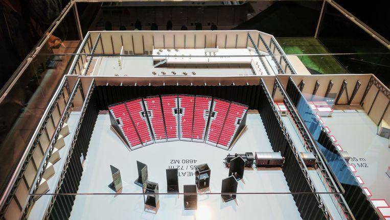 De maquette van Theater Singelberg, de evenementenhal die Katoen Natie-baas Fernand Huts wil bouwen voor de musical 40-45. Beeld BELGA