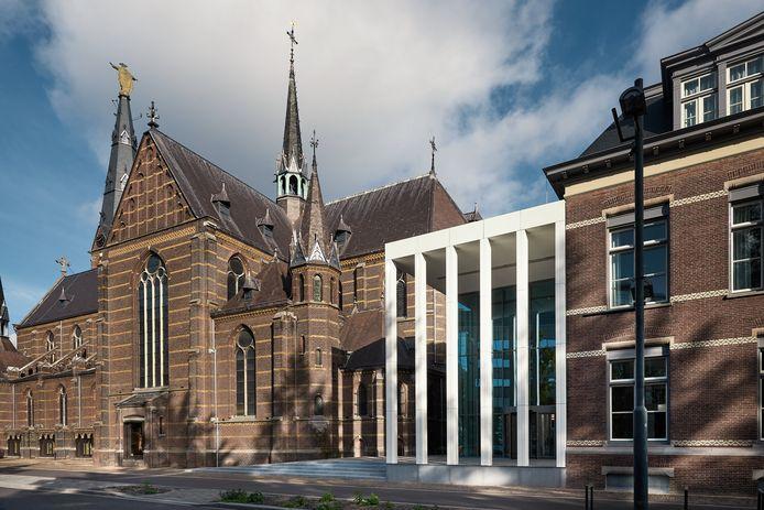 De hoofdingang van DOMUSDELA, het voormalige complex Mariënhage aan de Kanaalstraat in Eindhoven.