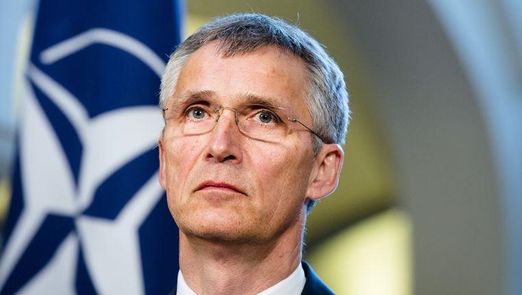 Secretaris-generaal van de Navo Jens Stoltenberg tijdens een persconferentie op het Ministerie van Algemene Zaken, in aanloop naar de Navo-top. Beeld anp
