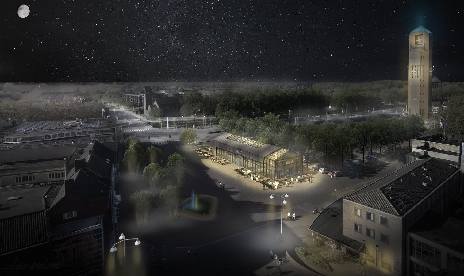 Een impressie van het horecapaviljoen op De Deel in Emmeloord.