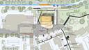 Zo komt er uit te zien bij het positief gezondheidscentrum. Boven de nieuwe aansluiting op de Stadswei. Het nieuwe centrum met een begane grond voor de verenigingen en gezondheidszorg en instellingen in twee etages daarboven krijgt een parkeergarage voor de medewerkers en naast het plein kunnen bezoekers de auto parkeren. Het ontmoetingsplein staat in verbinding met het winkelcentrum links, de dierenweide rechtsboven en zorgcentrum Weideheem linksonder. Verticaal door het midden ligt het Zuiderzeepad, voor fietsers en voetgangers.