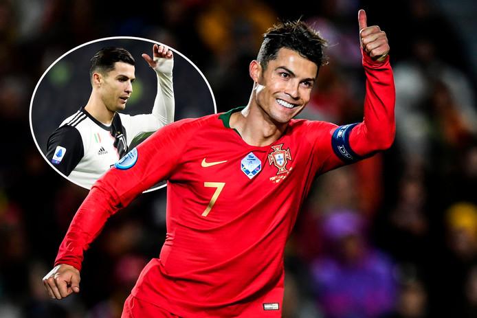 Cristiano Ronaldo: met een duimpje als scorende international en een klein wegwerpgebaar vlak voor zijn wissel bij Juve (inzet)..