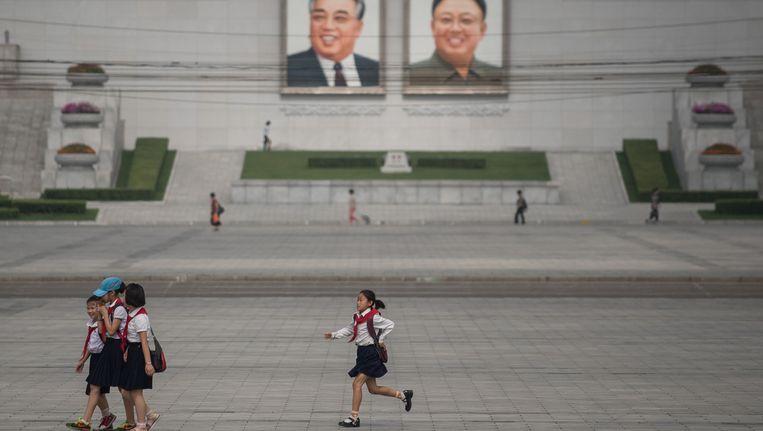 Noord-Koreaanse schoolkinderen in de hoofdstad Pyongyang. Beeld ap