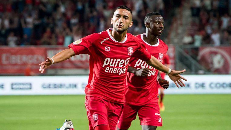 Hakim Ziyech van FC Twente juicht na de 3-1. Beeld anp