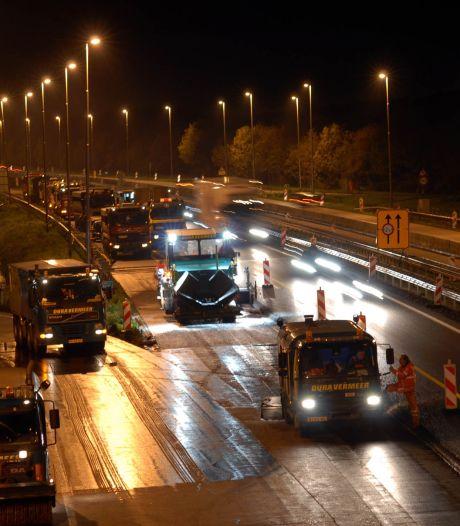 A73 deels dicht door werk aan de weg, verkeer moet komende weekeinden omrijden
