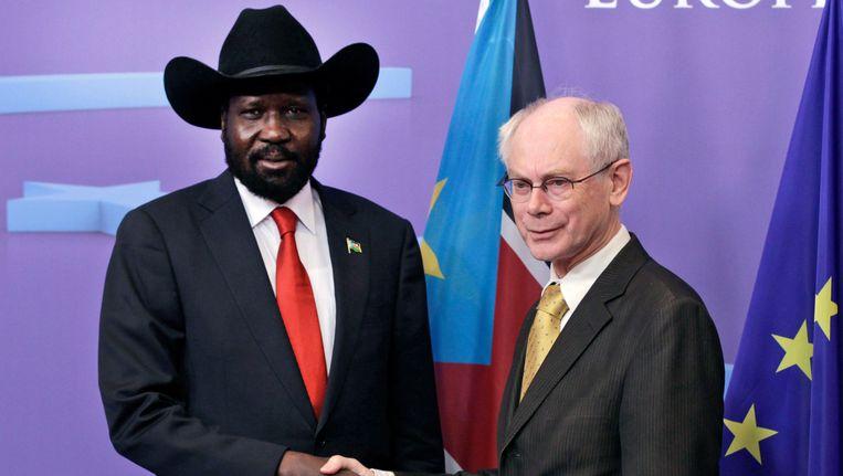 De president van Zuid-Soedan Salva Kiir (links) met Eurovoorzitter Herman Van Rompuy. Beeld AP