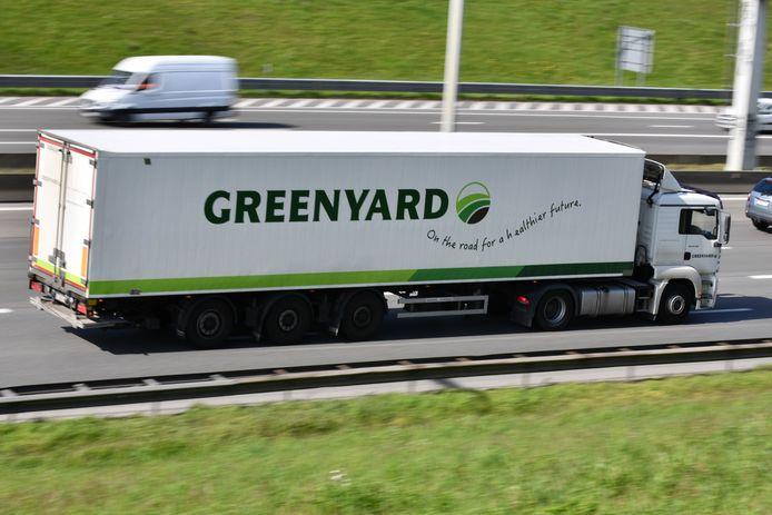 Een vrachtwagen van het Belgische groente- en fruitbedrijf op de Brusselse Ring.