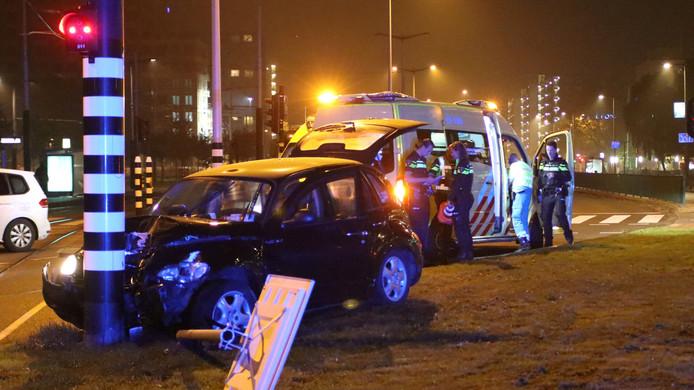 De taxi waar Sergio Agüero in zat op donderdag 28 september in Amsterdam.