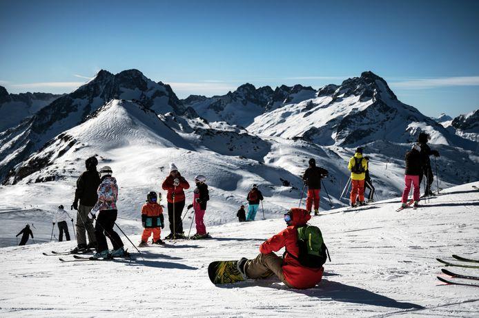 Wintersporters in Les Deux Alpes.