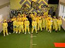 De selectie van NAC viert carnaval in Breda.