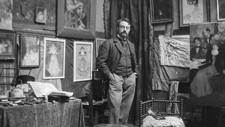 Henri Matisse op bezoek in het atelier van Evenepoel in Parijs. Beeld KMSKB-AHKB Cliché KIK-IRPA