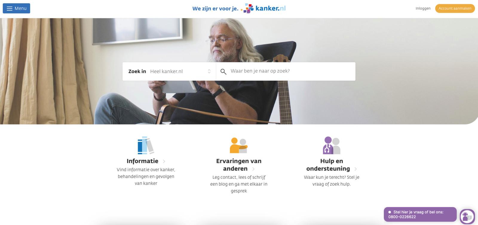 Screenshot van kanker.nl