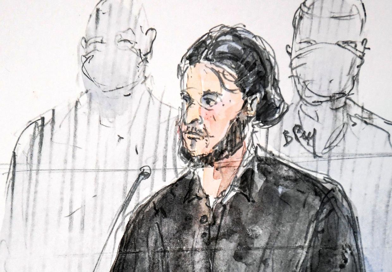Een schets van hoofdverdachte Salah Abdeslam tijdens het assisenproces in Parijs vandaag. Beeld AFP