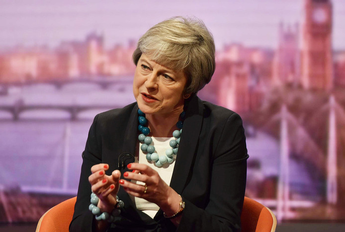 Theresa May op de BBC.