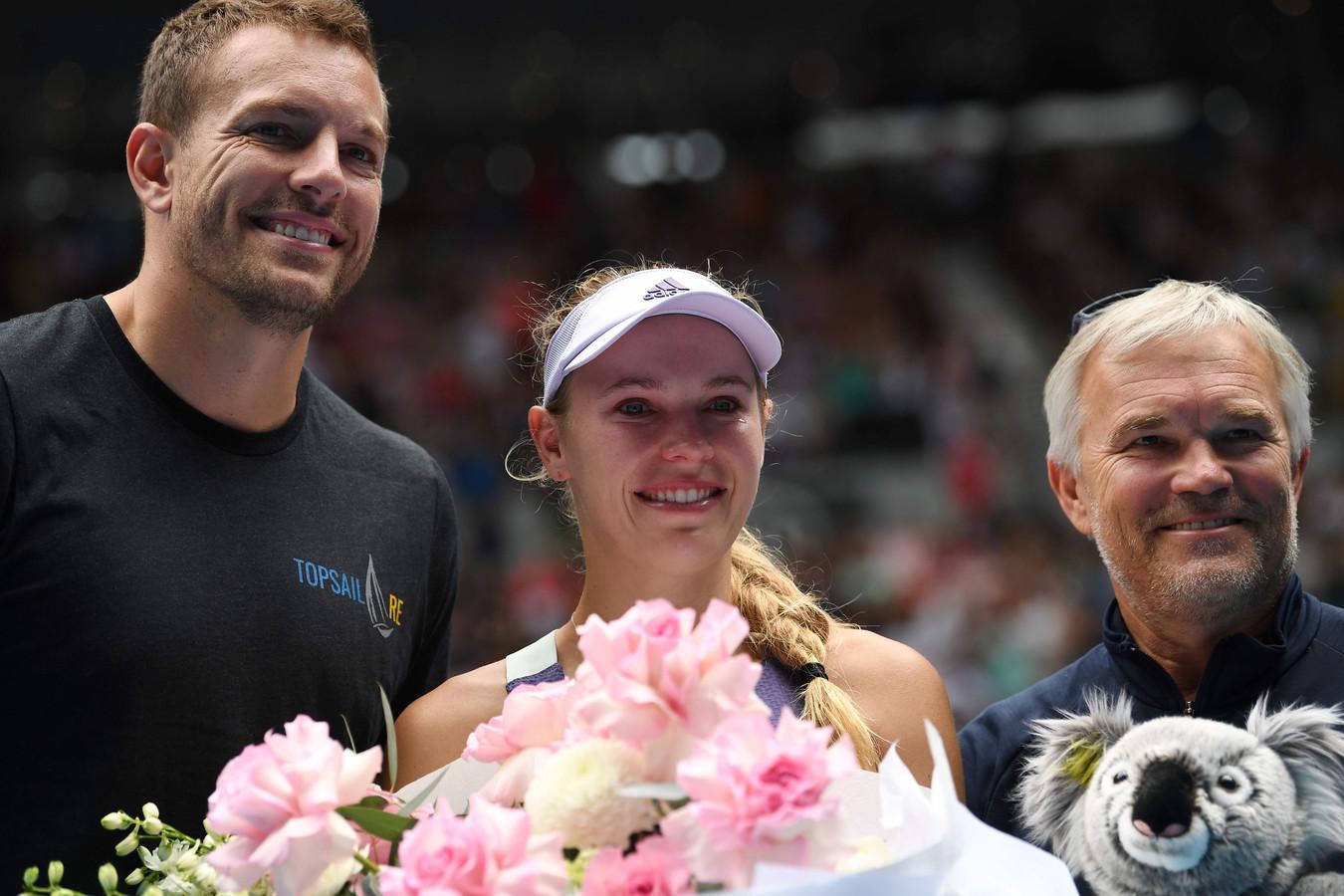 Caroline Wozniacki met haar man David Lee (l) en vader Piotr Wozniacki.
