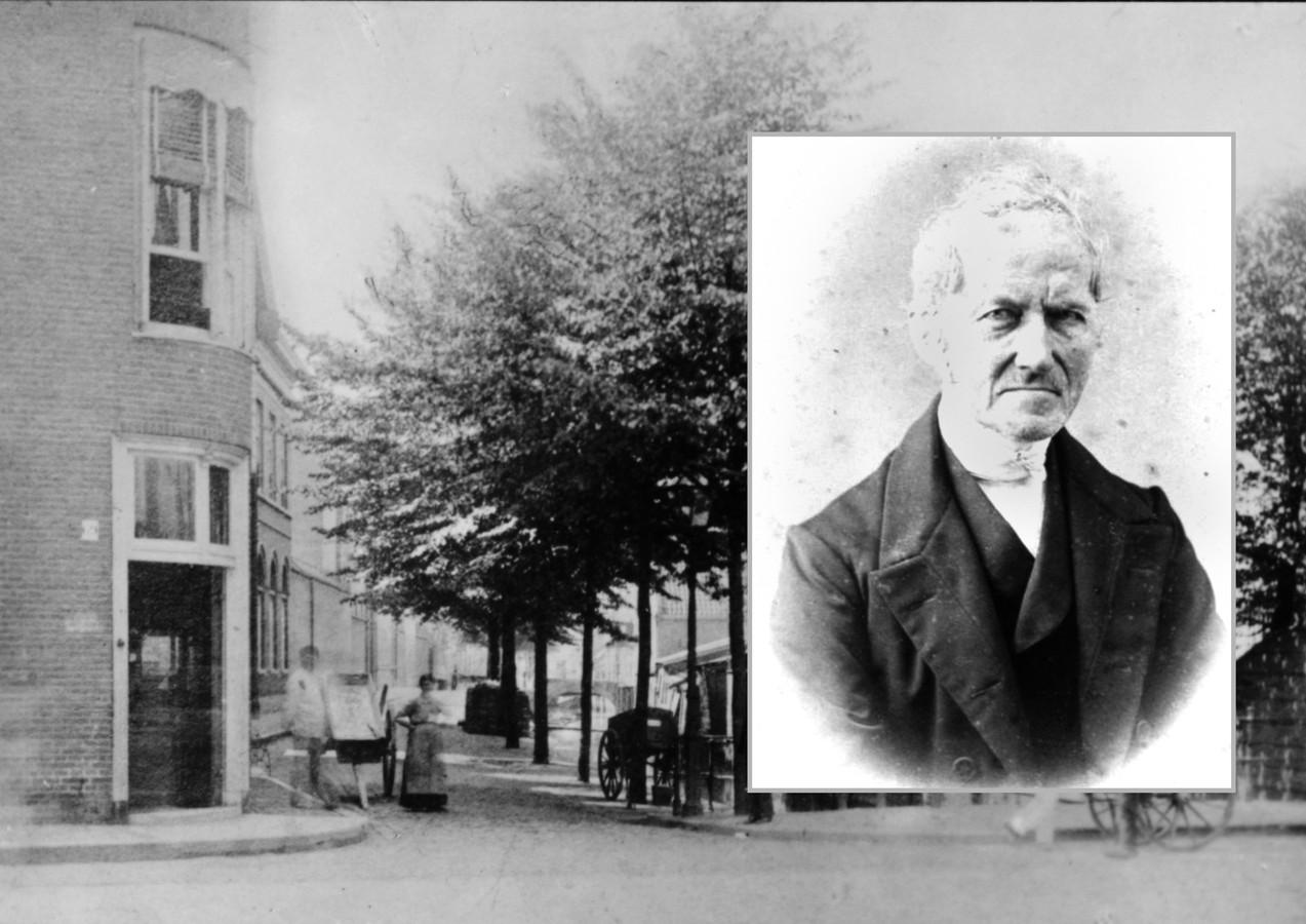 De Lindengracht omstreeks 1880. Op de plek van het hoekhuis links stond de bakkerij van Kamerling. Inzet: Pieter Uittenbogaard, schrijver van het klokverhaal.