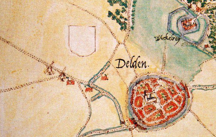 Delden en Twickel rond 1560. Op de kaart van Jacob van Deventer zijn links de twee Standerdmolens en de rosmolen te zien.