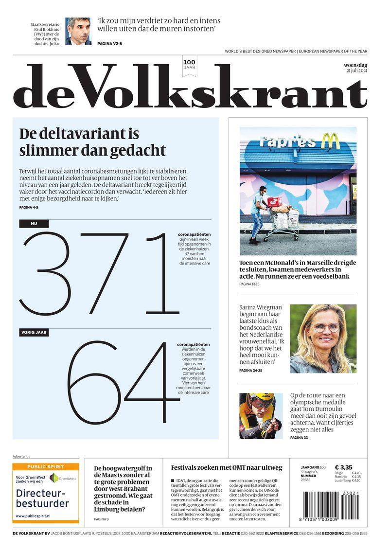 De voorpagina van de Volkskrant op 21 juli 2021. Beeld
