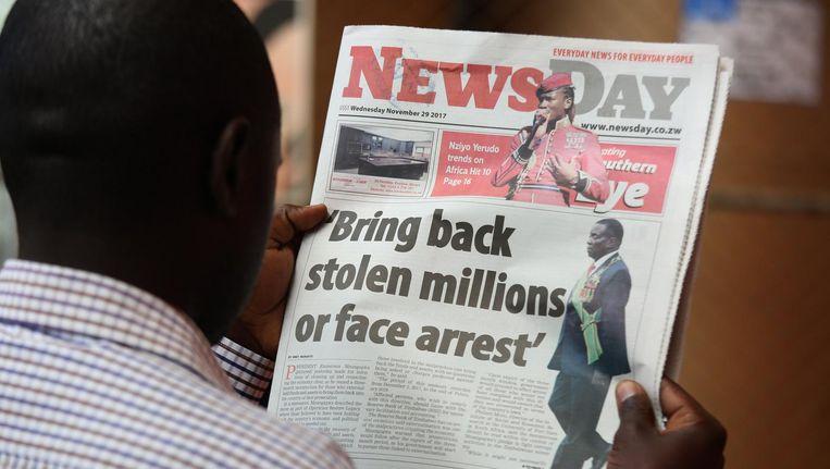 Voorpagina van een Zimbabwaanse krant Beeld epa