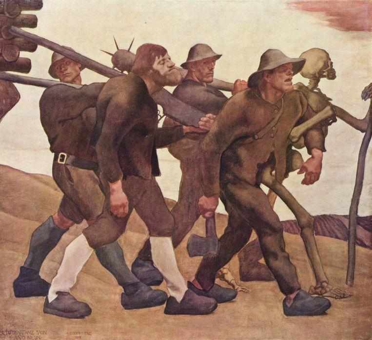 'Der Totentanz von Anno Neun' (1908) Beeld Albin Egger-Lienz