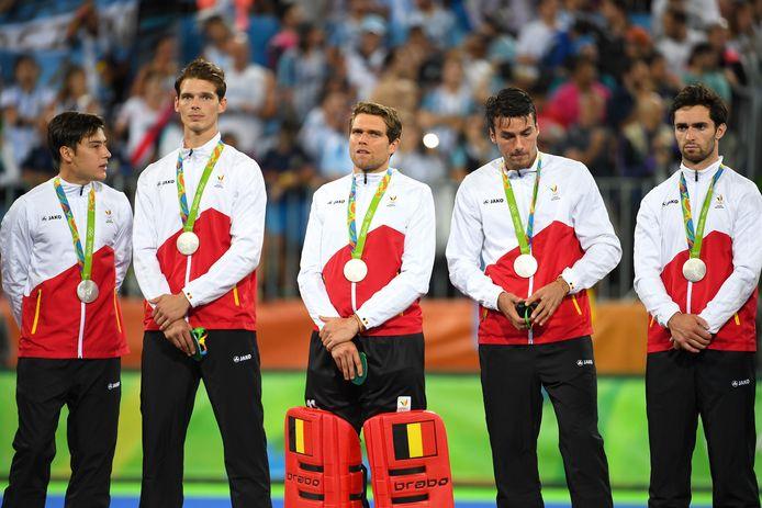 Denayer Felix (tweede van links) met zilveren medaille op het podium in Rio.