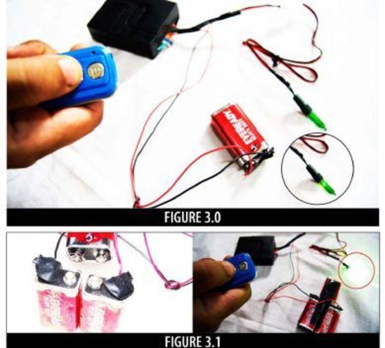 Illustraties bij aanwijzingen voor het maken van op afstand bedienbare explosieven. Beeld