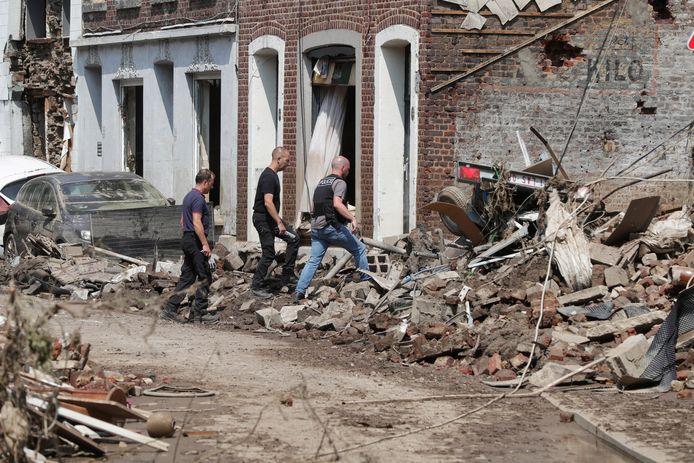 De ravage na de overstromingen in Pepinster.