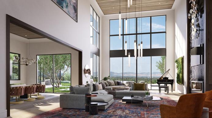 Les hauts plafonds sont agrémentés de luminaires très modernes.