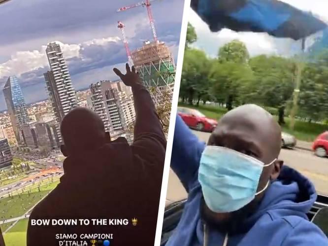 """Uitzinnige Romelu Lukaku rijdt door straten van Milaan en zingt uit open dak: """"Dit is beste jaar van mijn carrière"""""""