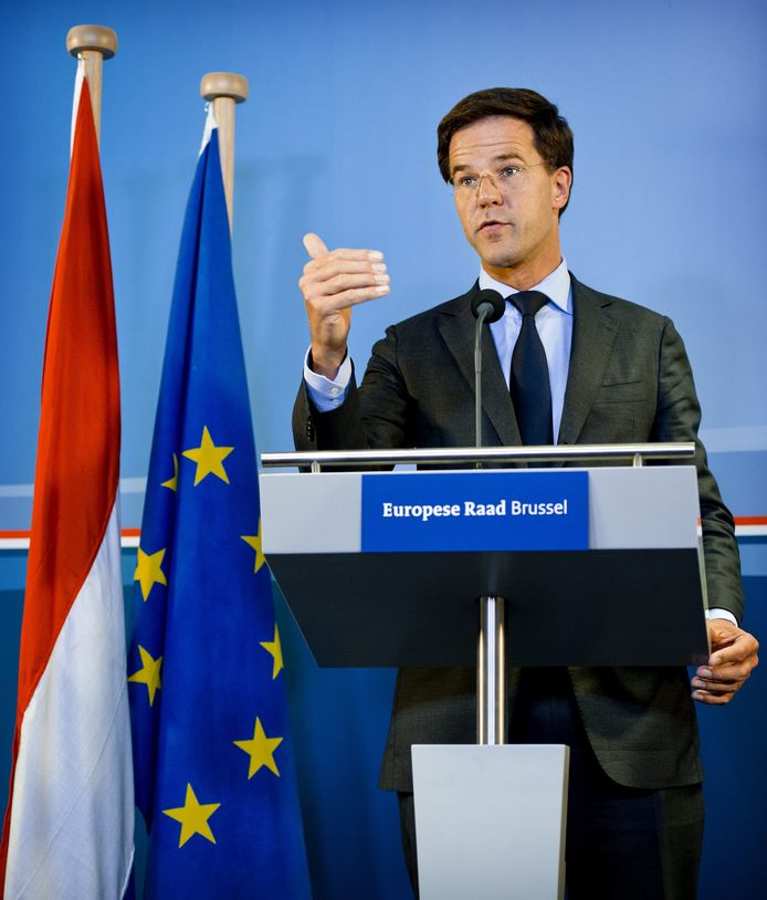 Premier Rutte eind juni in Brussel.