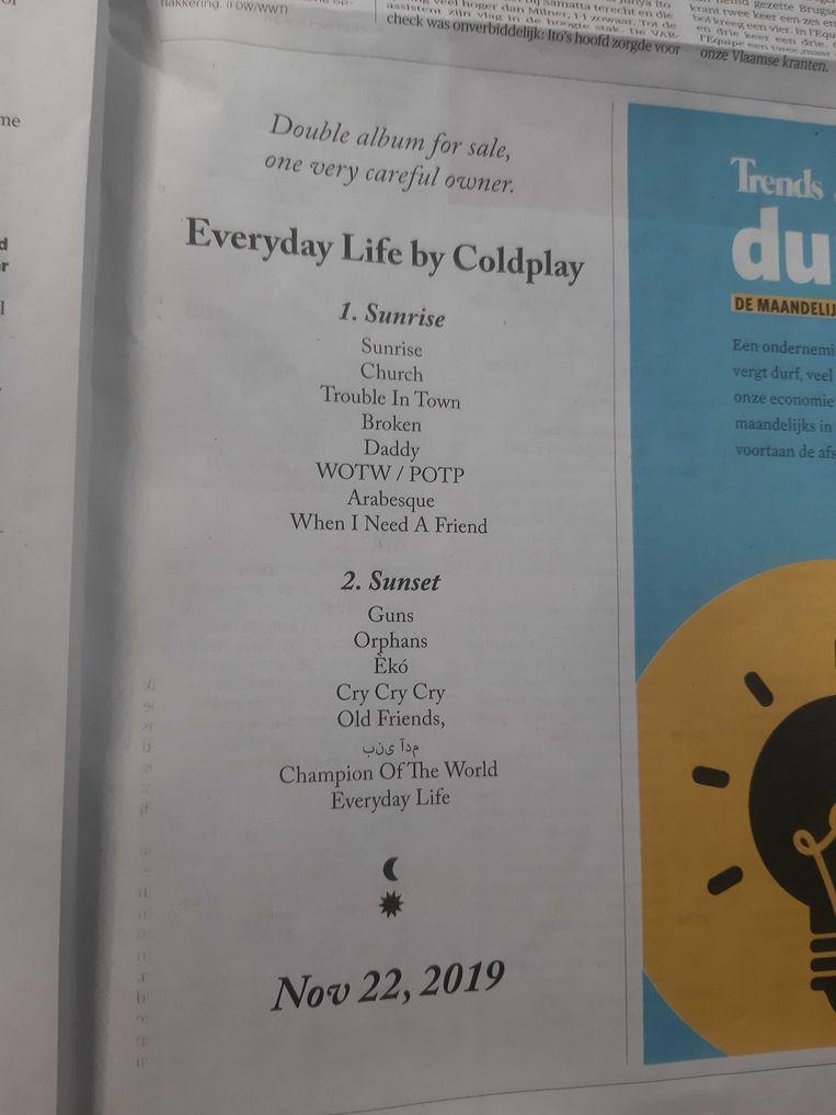 Het zoekertje van Coldplay dat vandaag in de krant stond. Beeld Beeld Twitter