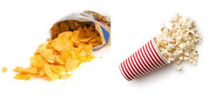 Allebei zoute tussendoortjes, maar de popcorn bevat minder calorieën.