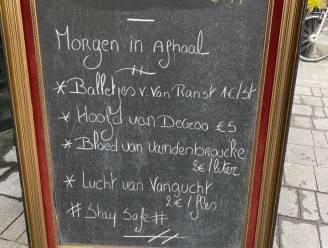 Balletjes van Van Ranst, hoofd van De Croo: restaurant verwerkt verplichte sluiting met ludieke menukaart