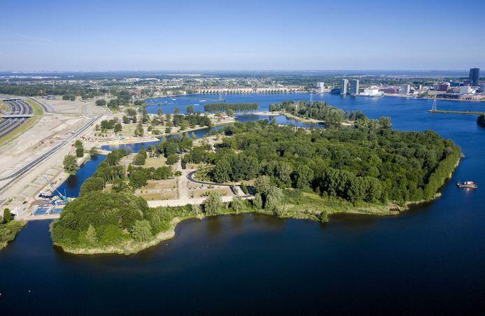 Bovenaanzicht van de plek waar de Floriade 2022 plaats moet vinden.