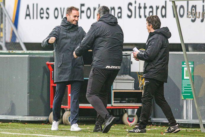 Sjors Ultee (l) viert de 1-0 van Fortuna Sittard tegen Feyenoord.