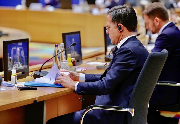Premier Mark Rutte tijdens de Eurotop in Brussel.