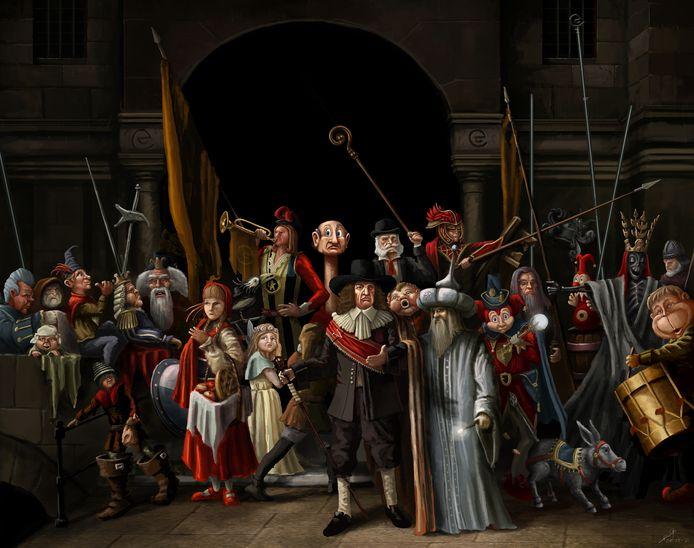 Sprookjeswacht: illustratie van De Nachtwacht met Eftelingfiguren.
