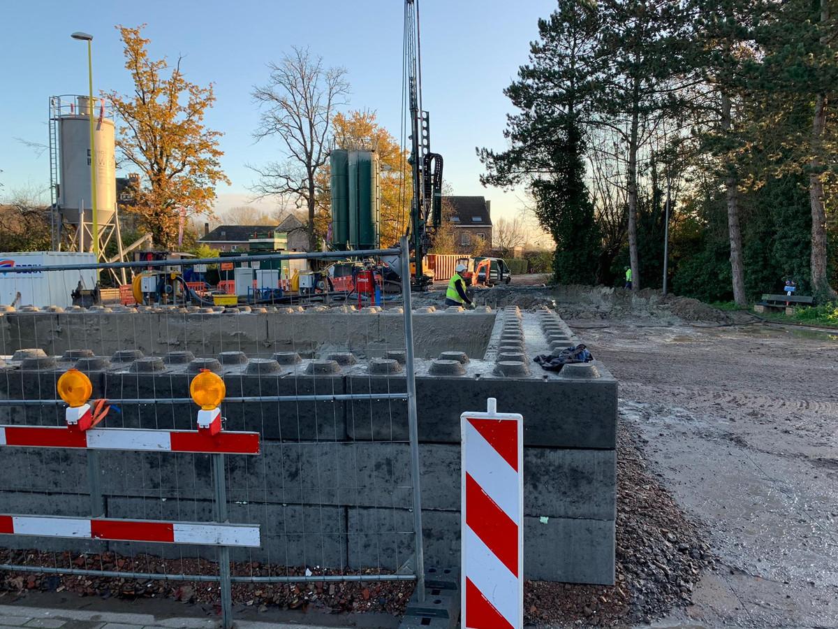 Werken aan de Wolvertemsesteenweg.