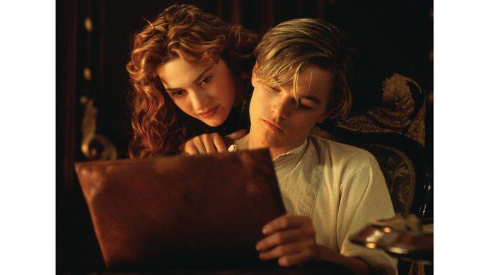 Kate Winslet en Leonardo di Caprio in de speelfilm 'Titanic'.