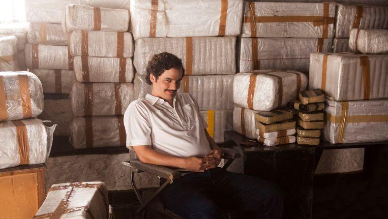 Acteur Wagner Moura als 'Pablo Escobar' in Narcos. Beeld AP