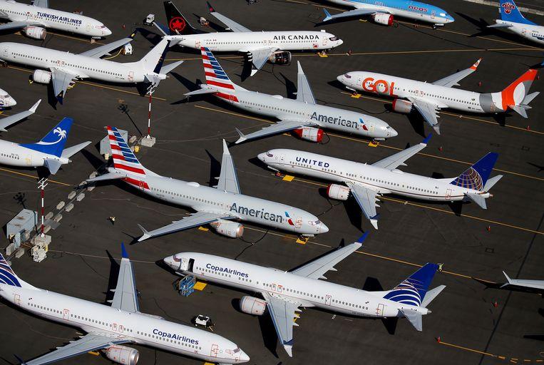 Toestellen van de Boeing 737 MAX aan de grond bij Boeing in Seattle, Washington.