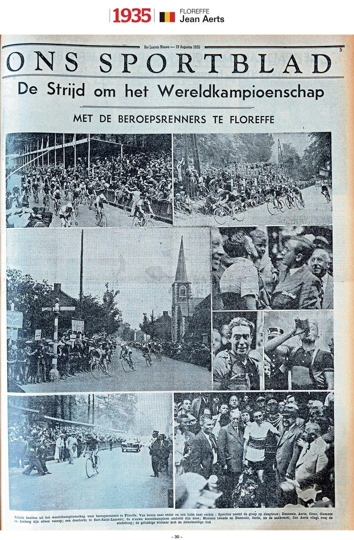 """1935 - Ook een WK in eigen land, ook massa's supporters langs de weg. Jean Aerts """"vliegt als eerste over de eindstreep"""" in Floreffe, aldus de reporter."""