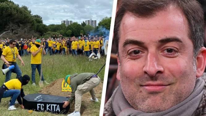 Mogi Bayat kop van Jut bij Nantes: makelaar graaft samen met andere bestuursleden doodskist op die door boze fans werd begraven