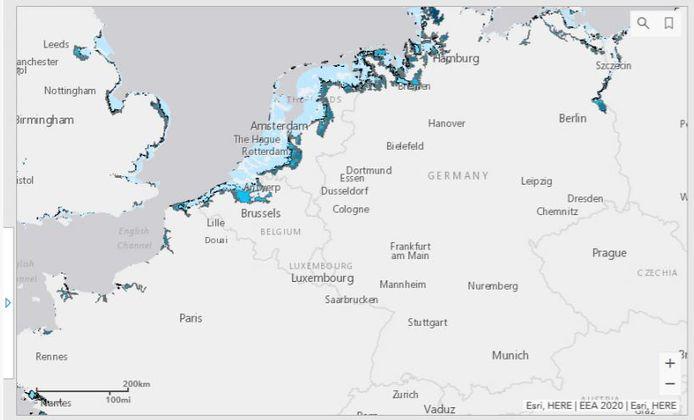 Population potentiellement touchée par les inondations côtières entre 1 à 6 mètres au-dessus du niveau moyen actuel de la mer