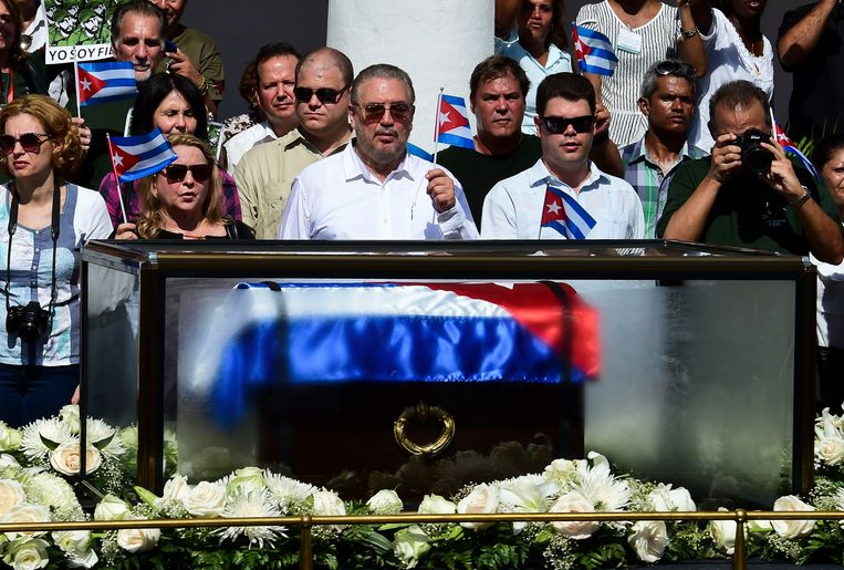 Fidel Castro Díaz-Balart tijdens de begrafenis van zijn vader. Beeld AFP
