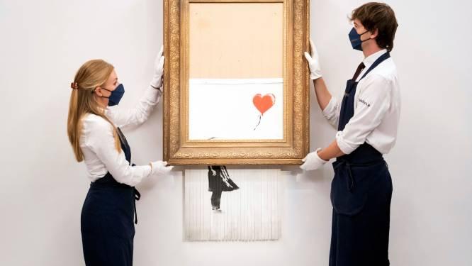 Deels versnipperd Banksy-schilderij gaat in de verkoop
