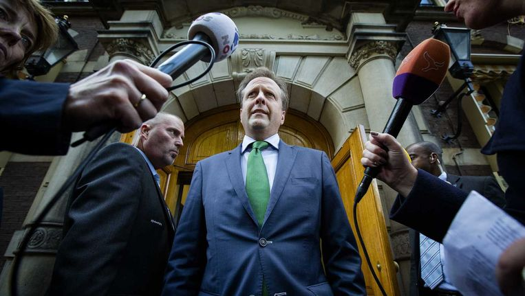 D66-fractievoorzitter Alexander Pechtold staat op het Binnenhof de pers te woord nadat de onderhandelingen over een superprovincie zijn mislukt. Beeld anp
