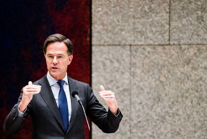 Premier Mark Rutte tijdens het debat over de ontwikkelingen rondom het coronavirus in de Tweede Kamer